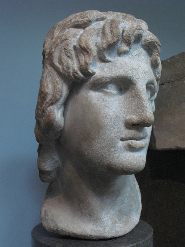 Bust of Alexander the Great in his classic head tilt pose from The British Museum.